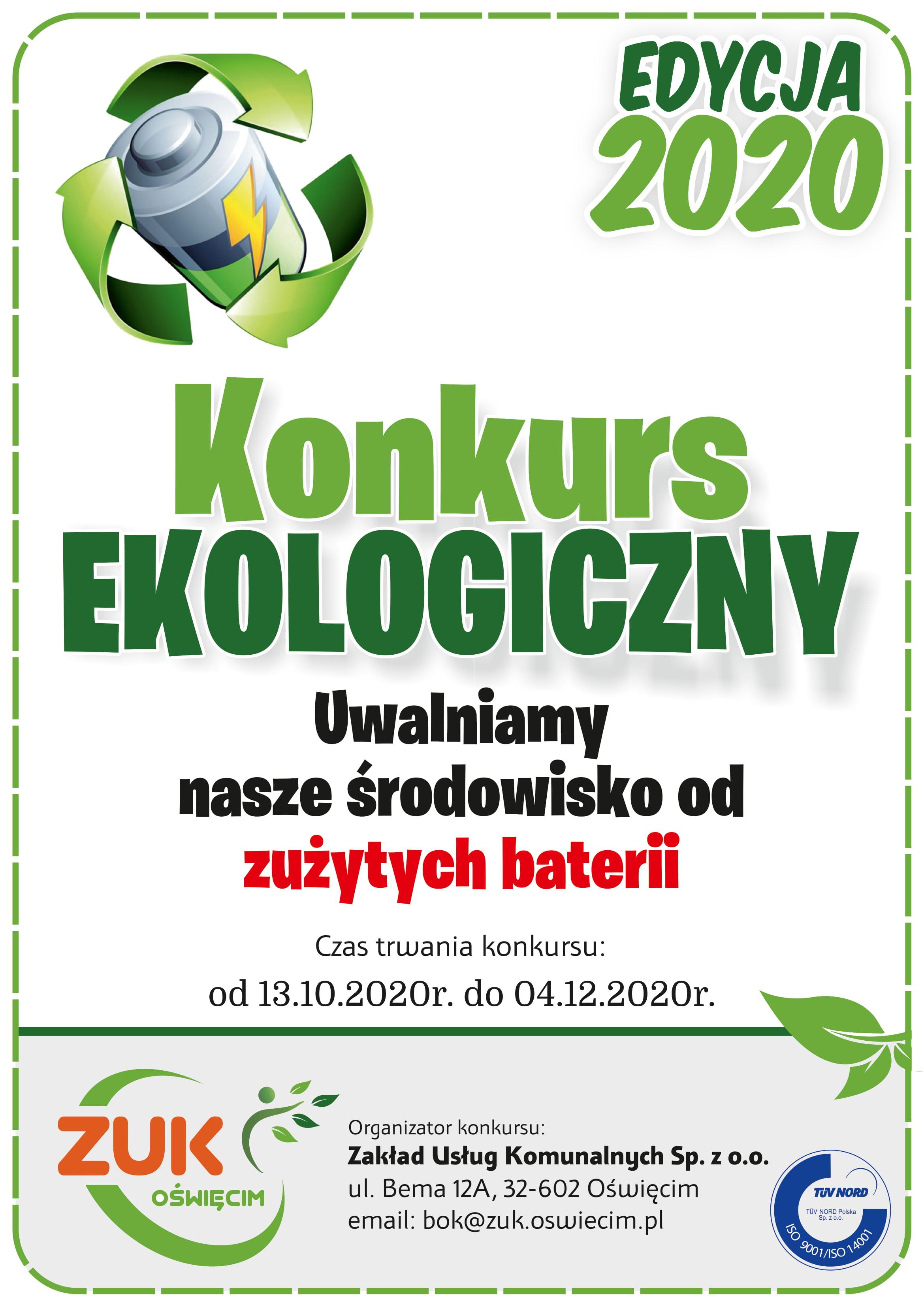 """Regulamin Konkursu zbiórki zużytych baterii  """"Uwalniamy nasze środowisko od zużytych baterii"""" edycja 2020"""