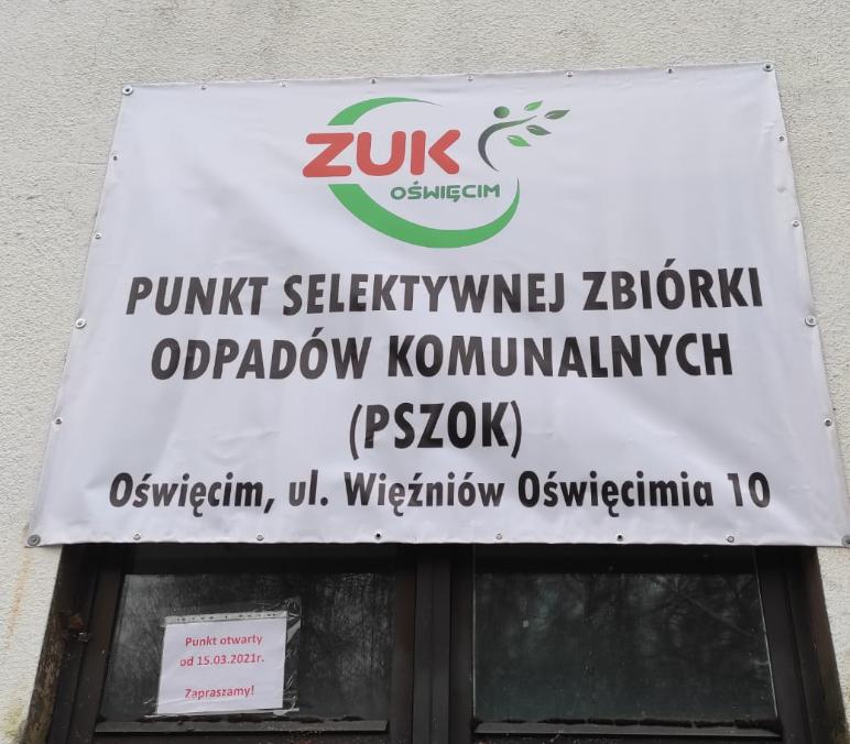 UWAGA! Zmiana lokalizacji PSZOK od dnia 15 marca 2021! Punkt z ul. Szewczyka przeniesiony na ul. Więźniów Oświęcimia